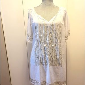 TAJ BY SABRINA embellished tunic/ dress/ coverup